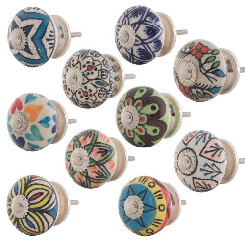 12 St/ück Keramik gepunktet M/öbelkn/öpfe bunt